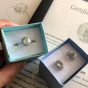 Sterling Set Green Amethyst Earrings & Ring